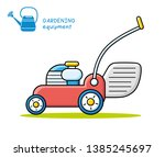 lawn mower isolated icon... | Shutterstock .eps vector #1385245697
