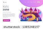 happy children playing outdoors ... | Shutterstock .eps vector #1385248157