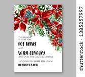 poinsettia christmas party...   Shutterstock .eps vector #1385257997