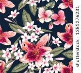seamless floral pattern pink... | Shutterstock .eps vector #1385276231