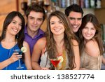 group of friends at the bar... | Shutterstock . vector #138527774