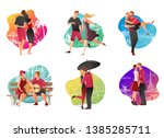 set of couples in love having... | Shutterstock .eps vector #1385285711