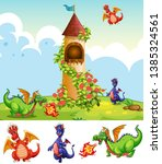 set of dragons in castle... | Shutterstock .eps vector #1385324561