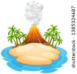 a volcano eruption island...   Shutterstock .eps vector #1385324687