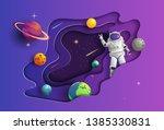 paper art style of astronaut in ... | Shutterstock .eps vector #1385330831