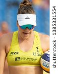 Small photo of KUALA LUMPUR, MALAYSIA-APRIL 30: Amanda Dowdy of USA prepares to serve during Qualify Round FIVB Port Dickson Beach Open on April 30, 2019 at Port Dickson in Kuala Lumpur, Malaysia