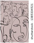 abstract face one line drawing. ... | Shutterstock .eps vector #1385334521