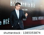"""Small photo of Moscow, Russia - August 8, 2012: Colin Farrell at Total Recall Premiere at Cinema October red carpet, sign says """"Total Recall"""""""