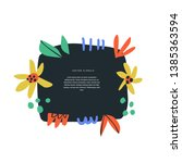 floral text circle frame hand... | Shutterstock .eps vector #1385363594