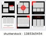 six set editable minimal square ... | Shutterstock .eps vector #1385365454