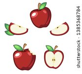 red apple vector set of... | Shutterstock .eps vector #1385368784