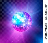 disco ball with bright rays and ... | Shutterstock .eps vector #1385382284