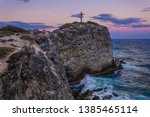 Cliff With Cross Landmark At...