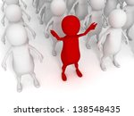 different red 3d man in big group of other white people - stock photo
