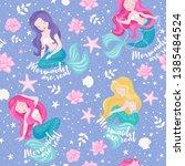 lavender mermaid pattern.... | Shutterstock .eps vector #1385484524