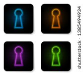 glowing neon keyhole icon... | Shutterstock .eps vector #1385494934