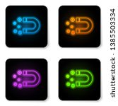 glowing neon magnet with money... | Shutterstock .eps vector #1385503334