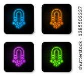 glowing neon magnet with money... | Shutterstock .eps vector #1385503337