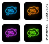 glowing neon co2 emissions in... | Shutterstock .eps vector #1385504141