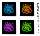 glowing neon co2 emissions in... | Shutterstock .eps vector #1385504174