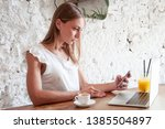 young charming woman working... | Shutterstock . vector #1385504897