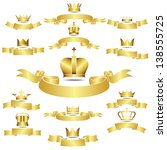 set of vector golden crown with ... | Shutterstock .eps vector #138555725