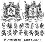 heraldry in vintage style.... | Shutterstock .eps vector #1385565644