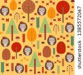 woodland seamless pattern. cute ... | Shutterstock .eps vector #1385572067