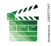 movie clap board icon. flat...