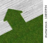 eco green house vs concrete... | Shutterstock . vector #13855954