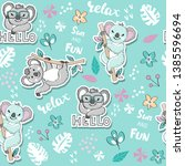 fashion patch with cute koalas... | Shutterstock .eps vector #1385596694