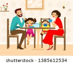family sitting in home and... | Shutterstock .eps vector #1385612534