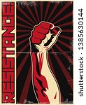 resistance  fist of protest ... | Shutterstock .eps vector #1385630144