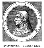 Pope Clement VII, 1478-1534, he was Pope from 1523 to 1534, vintage line drawing or engraving illustration