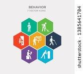simple set of man pushing  man... | Shutterstock .eps vector #1385641784