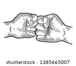 fist greeting sketch engraving... | Shutterstock . vector #1385665007