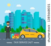 machine yellow cab with driver...   Shutterstock . vector #1385668031
