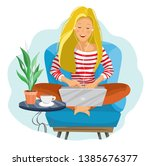 young female blogger.... | Shutterstock .eps vector #1385676377