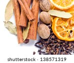 Spices With Dried Oranges On A...