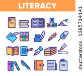literacy linear vector icons... | Shutterstock .eps vector #1385714141