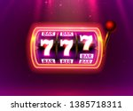 neon slot machine wins the... | Shutterstock .eps vector #1385718311