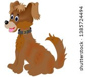 a brown colored cartoon dog... | Shutterstock .eps vector #1385724494