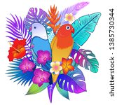 beautiful tropical exotic...   Shutterstock .eps vector #1385730344