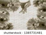 3d wallpaper  gerberas on white ... | Shutterstock . vector #1385731481