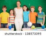 line of cute schoolchildren...   Shutterstock . vector #138573395