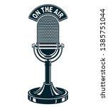 retro studio microphone vector... | Shutterstock .eps vector #1385751044