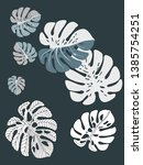 vector tropical pattern with... | Shutterstock .eps vector #1385754251