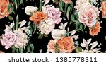 seamless floral pattern with... | Shutterstock . vector #1385778311