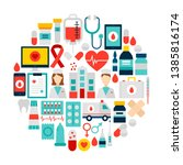 health icons circle. vector...   Shutterstock .eps vector #1385816174