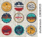 vector retro surf label set. | Shutterstock .eps vector #138583925